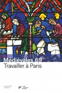 Vie de saint Chéron, détail du registre inférieur : les donateurs, maçons et tailleurs de pierre (vitrail de la cathédrale Notre-Dame de Chartres)